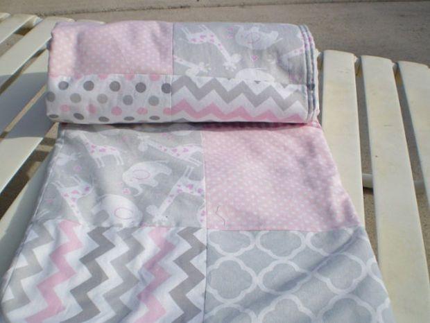 Elephant giraffe baby quilt blanket,Baby quilt blanket,Baby girl quilt blanket,grey pink baby quilt blanket,patchwork baby quilt,chevron