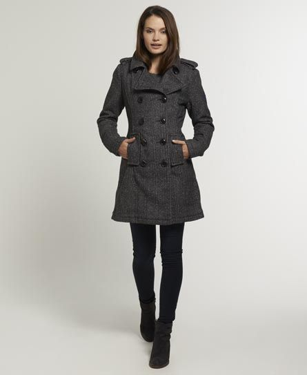 Shop Superdry Womens Bridge Coat in Slate Nep Herringbone. Buy now with  free delivery from the Official Superdry Store.