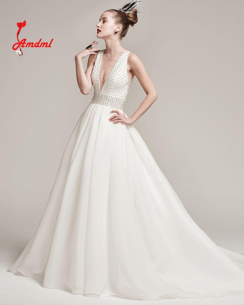 Plus size bling wedding dresses  Amdml  Sheer Tulle Skirt Princess Wedding Dresses Bling Beaded
