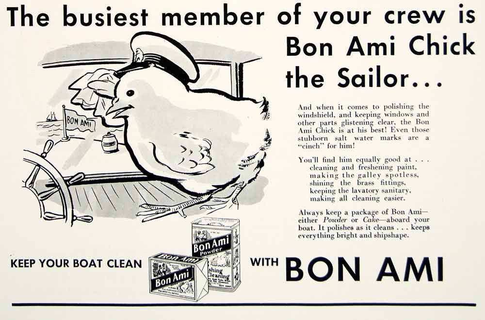 1935 Ad Vintage Bon Ami Powder Cake Chick Sailor Boat Cleaning ...