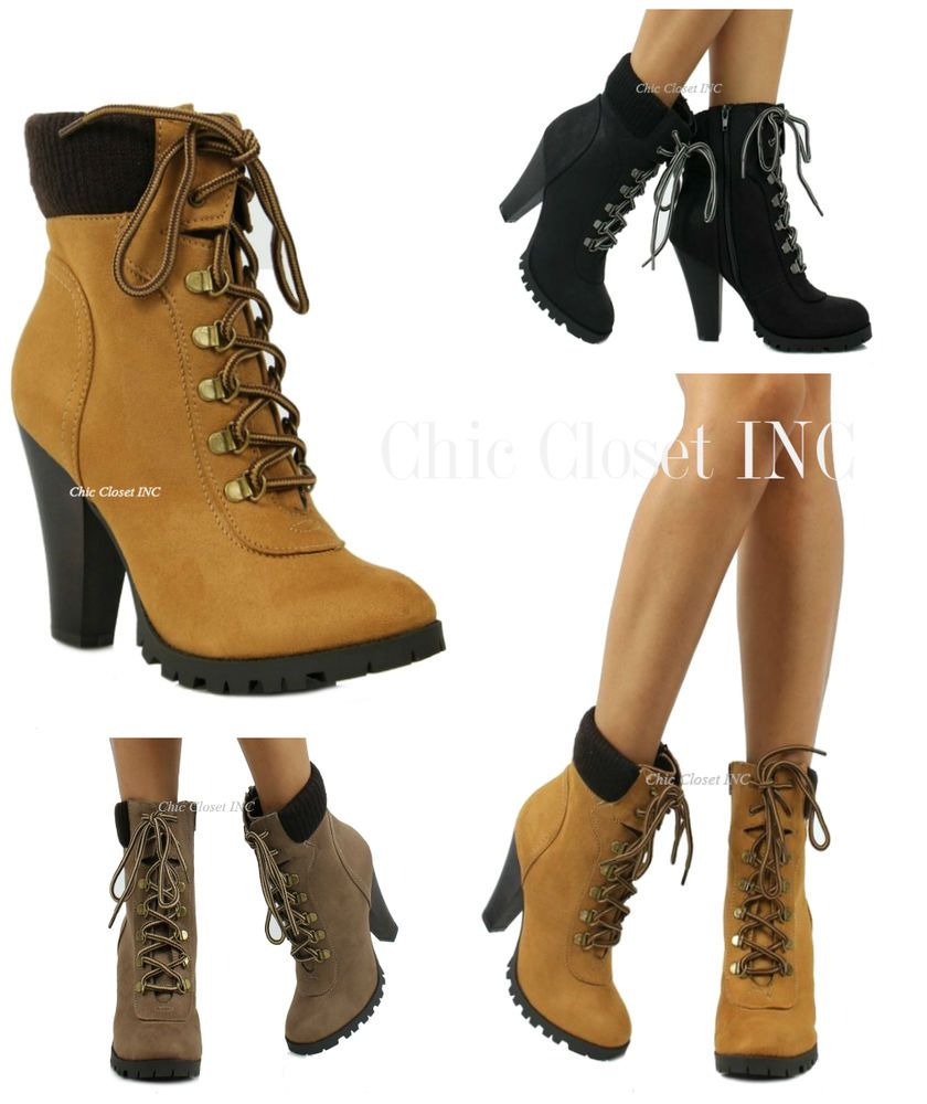 Lace Up High Wedge Ankle Combat Work Boots