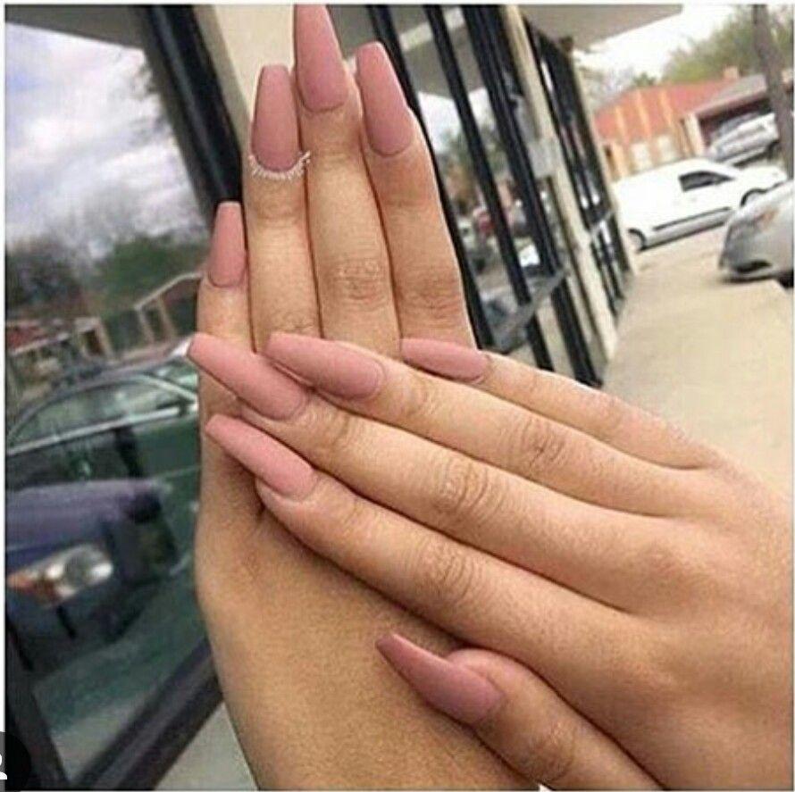 Matt dusty rose coffin nails | Nails | Pinterest | Gelnägel ...