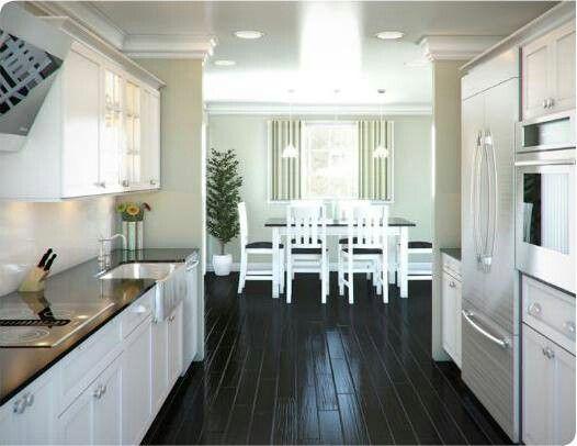 Grey And White Galley Kitchen kitchen black floor grey walls white cabinets | fix it up good