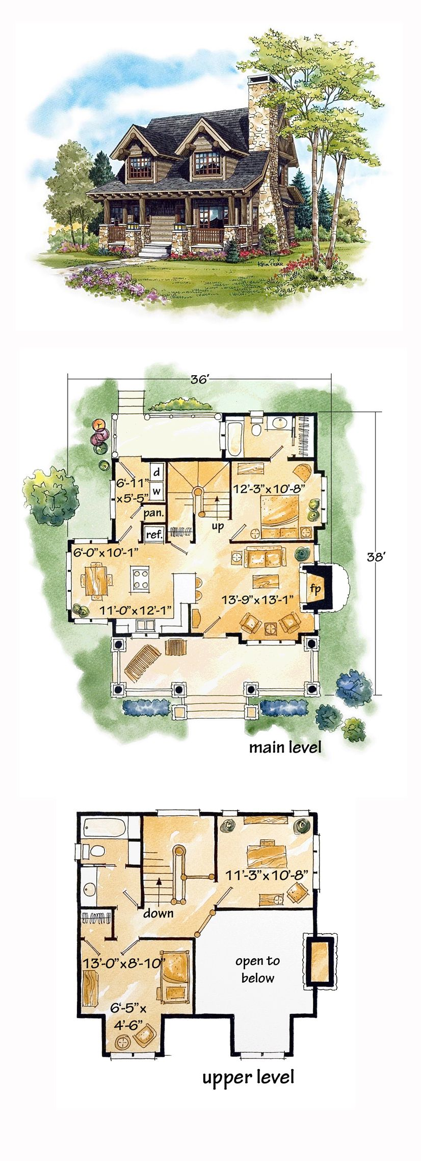 Log house plan 43212 total living area 1362 sq ft 2 for 2 bedroom log cabin plans
