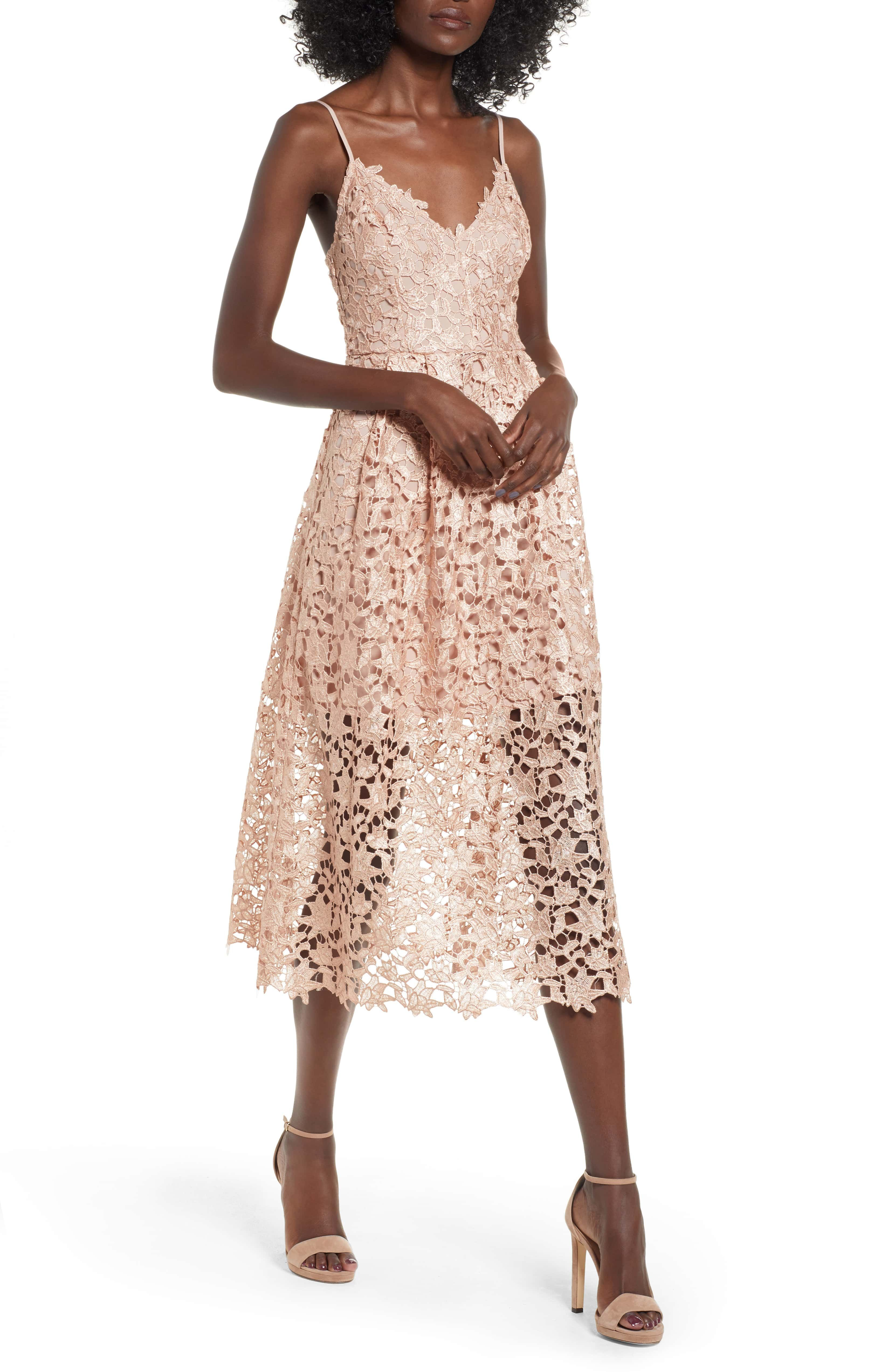 f479be640ba Astr the Label  Lace Midi Dress - Rose Gold Foil