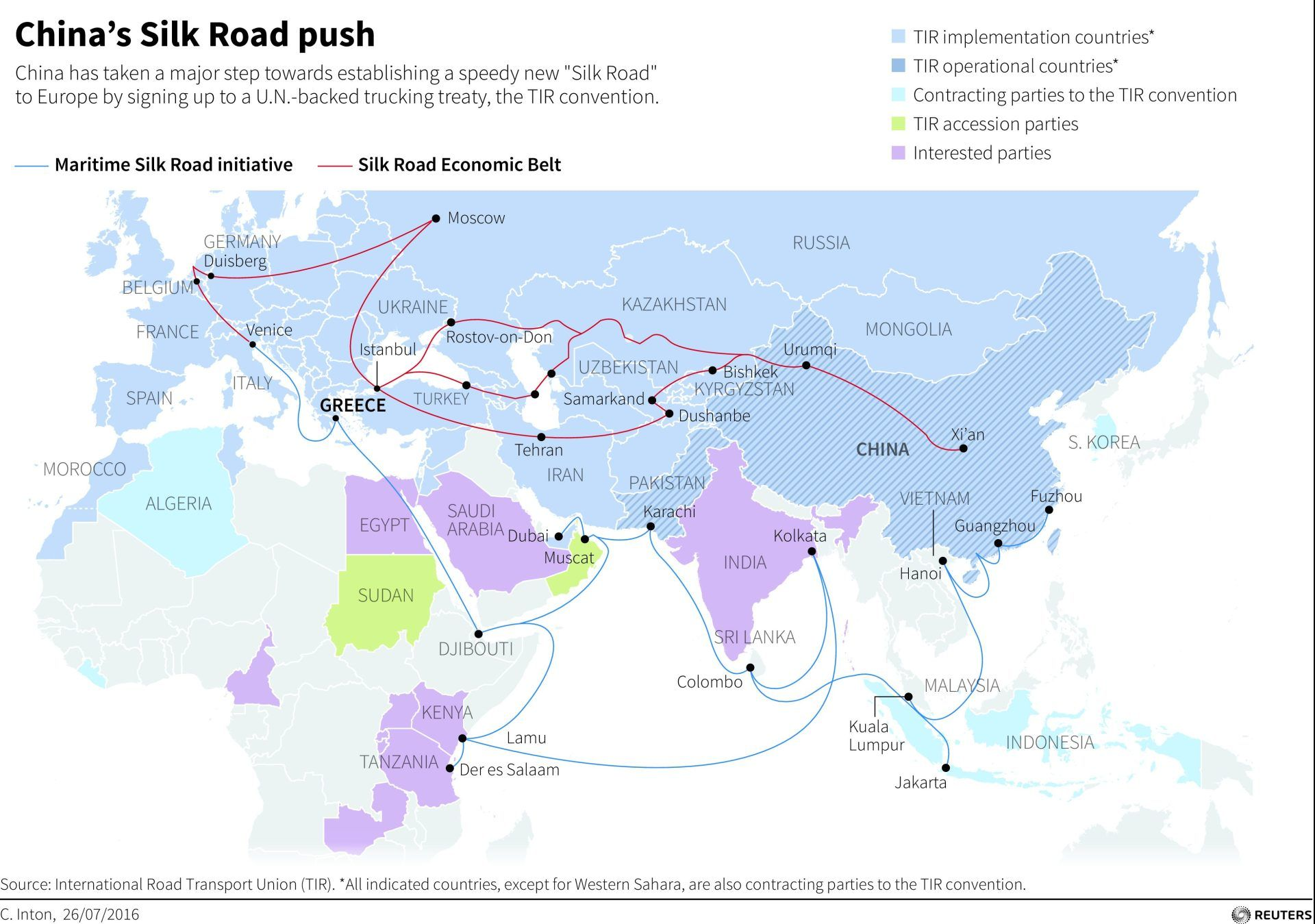 Map showing the routes for chinas one belt one road initiative map showing the routes for chinas one belt one road initiative gumiabroncs Images