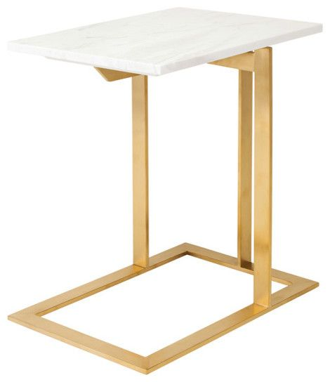 Rosalie Hollywood Regency Gold Steel White Marble Side End Table  Transitional Side Tables And End Tables