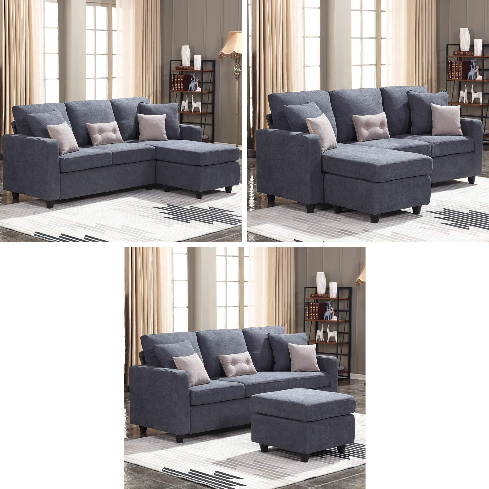 Honbay Convertible Sectional Sofa Couch L Shaped Couch With Modern Linen Fabric For Small Space Dark Grey Affi Sectional Sofa Couch L Shaped Couch Sofa Couch