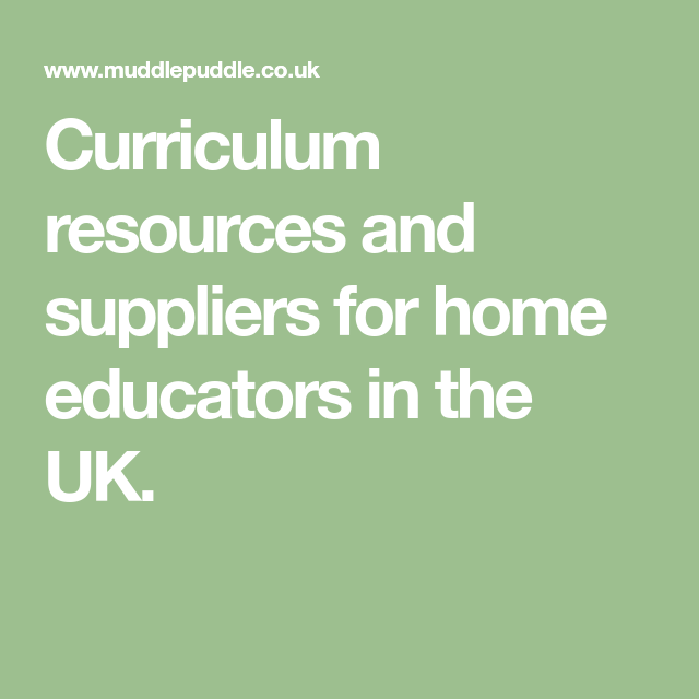 Home Education Curriculum Suppliers & Resources