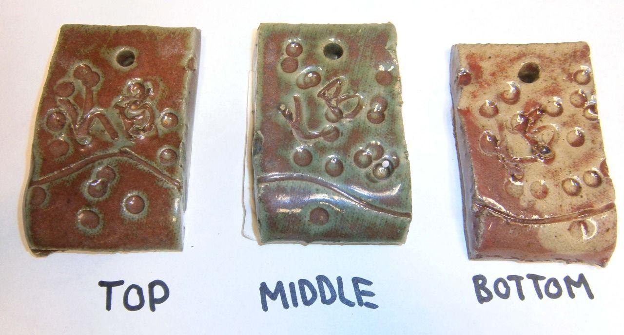 12. Base 5 Green (^10) 50 Custer Feldspar 20 Whiting 10 Colemanite 15 Flint 5 Kaolin (EPK) —- 3 Copper Carbonate ** Runs when applied thick!