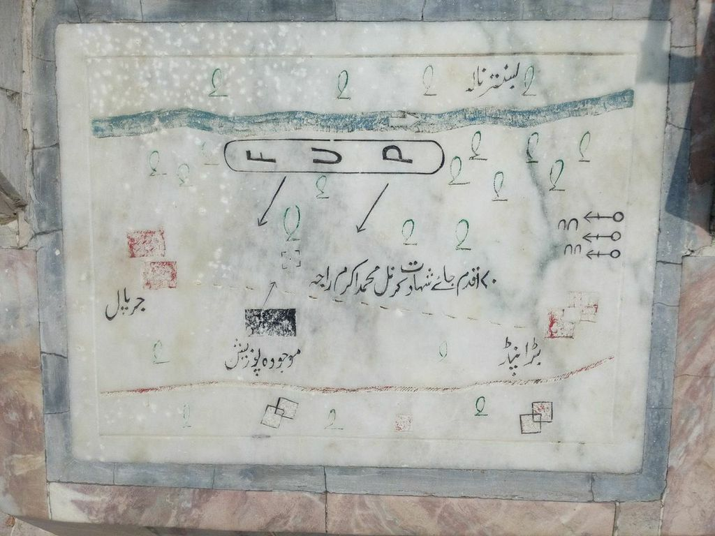 A map of the battlefield on a plaque installed at the 35 FF monument at Jarpal. The map indicates the Forming Up Place, the direction of attack, the Fire Base and the place of shahadat of Lt Col Akram Raja Shaheed, HJ