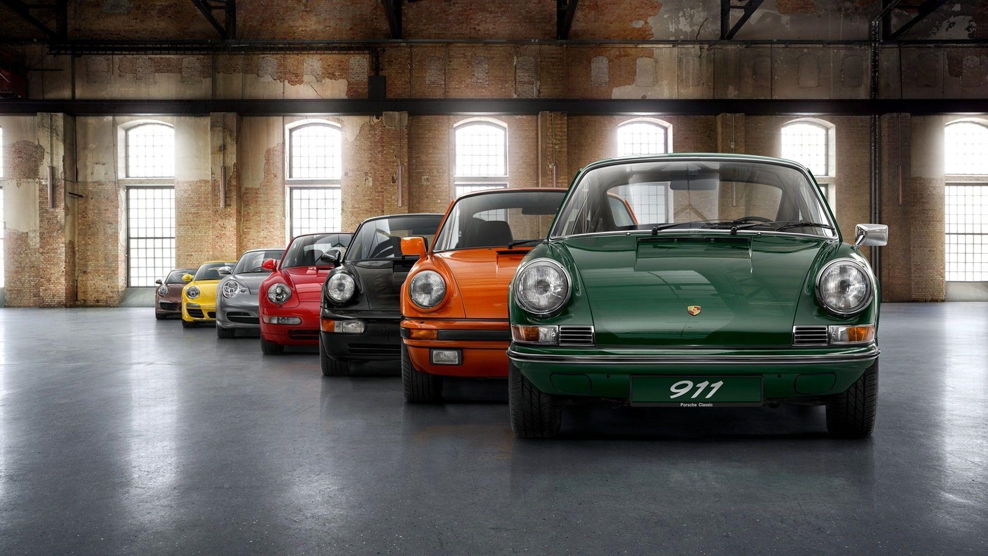 Porsche Model Range Seven Colors Car Car Lot Porsche Model Range Seven Colors Car 1080p Wallpaper Hdwallp Classic Porsche Porsche 911 Porsche Models