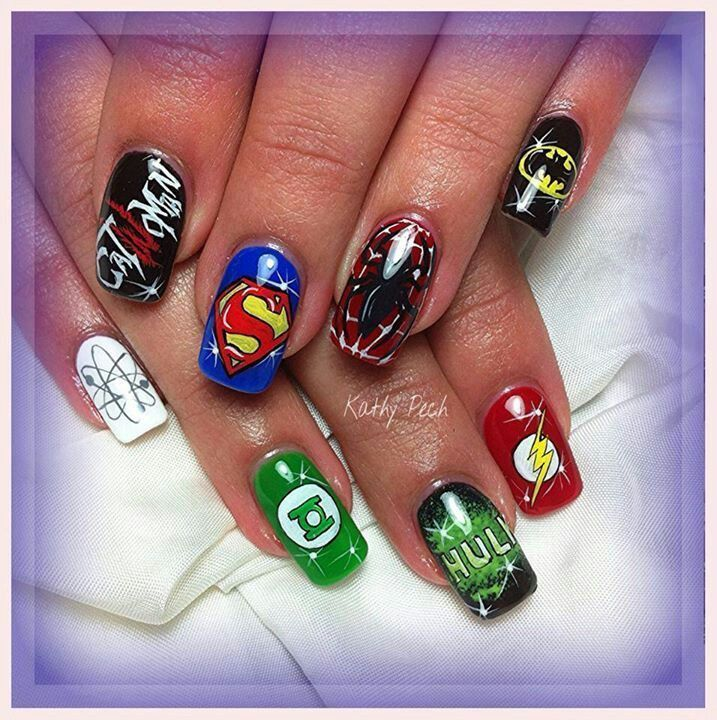 Superhero Nail Art - Superhero Nail Art Geek Nails Pinterest Superhero Nails