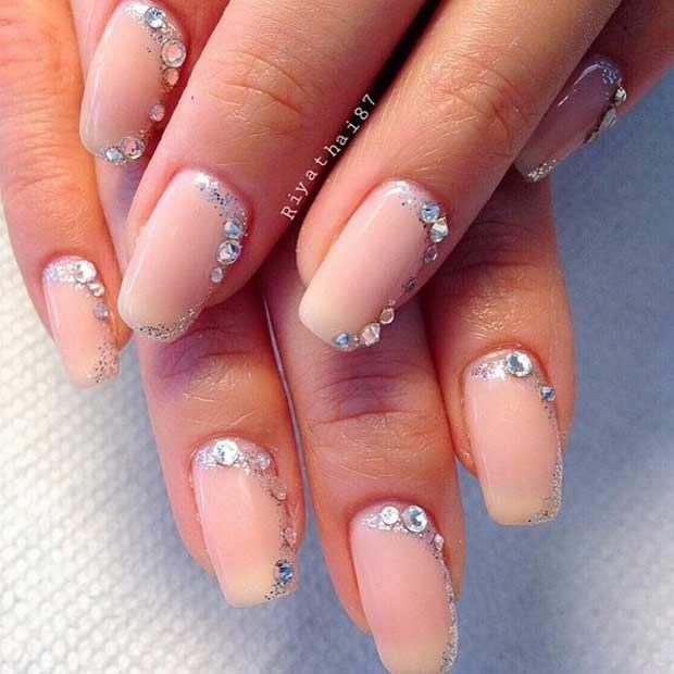 Glamorous Rhinestone Wedding Nails