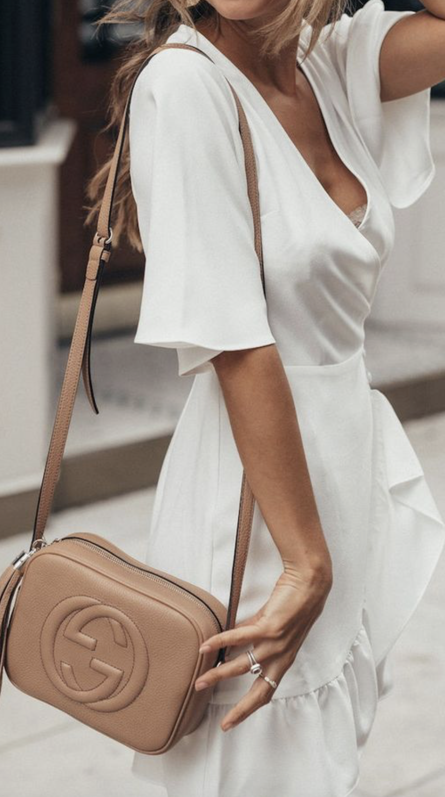 ab161b315a9adf white wrap ruffle dress + gucci soho small leather disco bag | womens  summer date night outfit looks