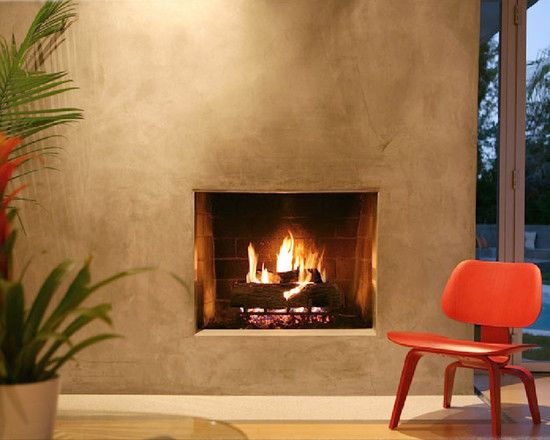 Modern Stucco Fireplace Design Pictures Remodel Decor
