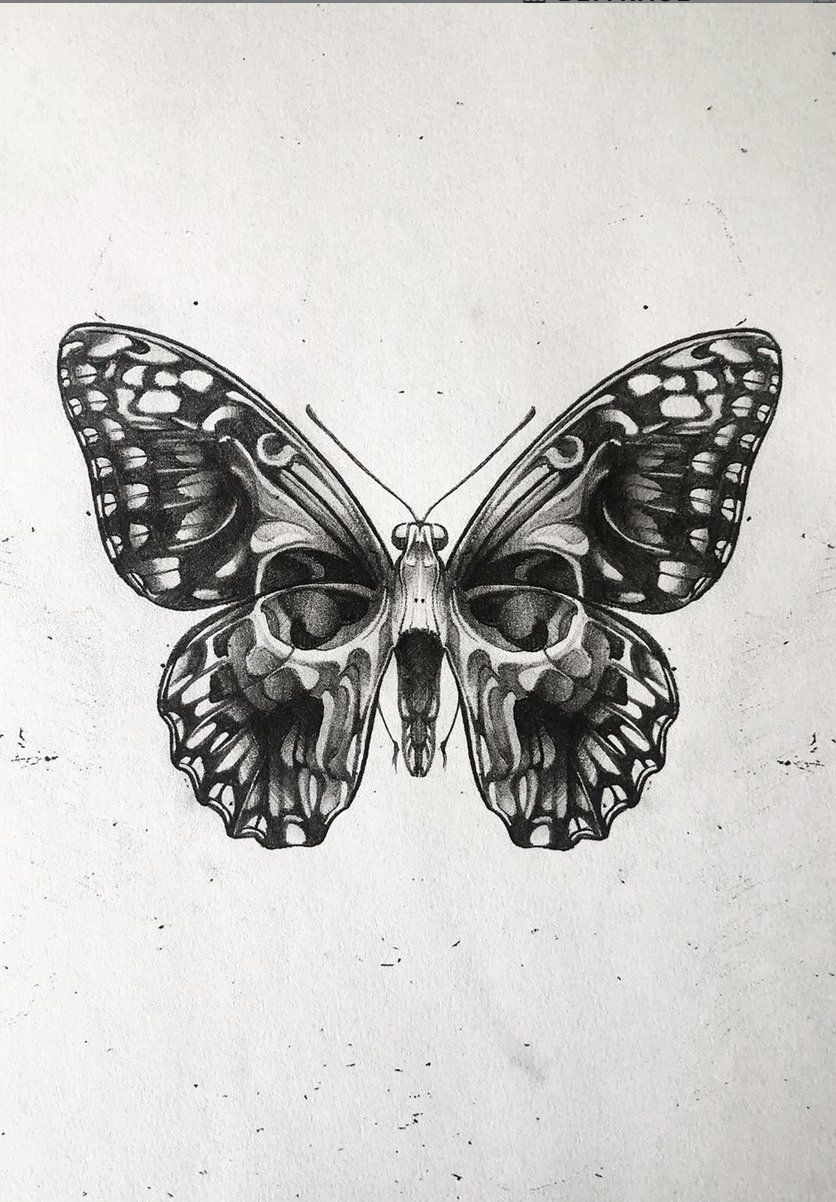 Moth Skull Patch Skull butterfly tattoo, Butterfly