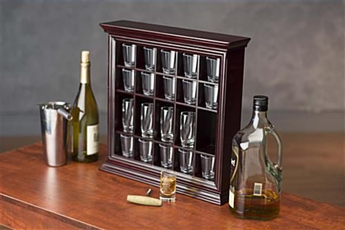 20 Shot Glass Display Case For Tabletop Or Wall, Crown Molding, Open Face    Mahogany