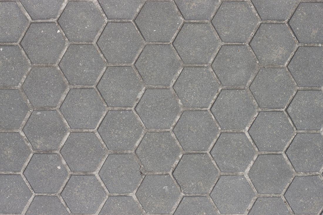 Concrete hexagonal paver texture, texture de pavé hexagonal de béton