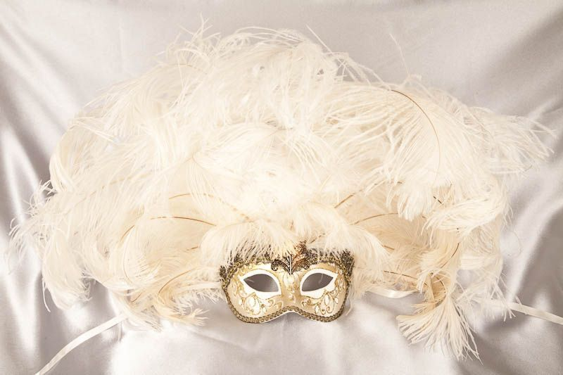 Rio Gold Carnival Mask with Huge Array of Feathers Venetian Masquerade