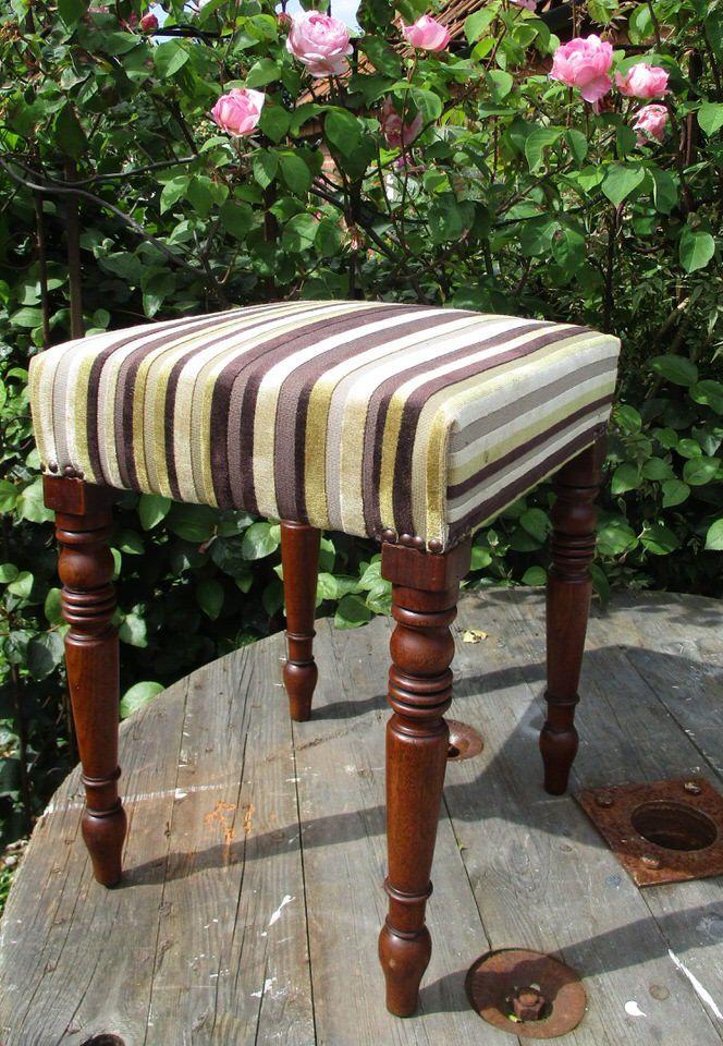 Vintage Upholstered Footstool Piano Stool Olive Green Purple