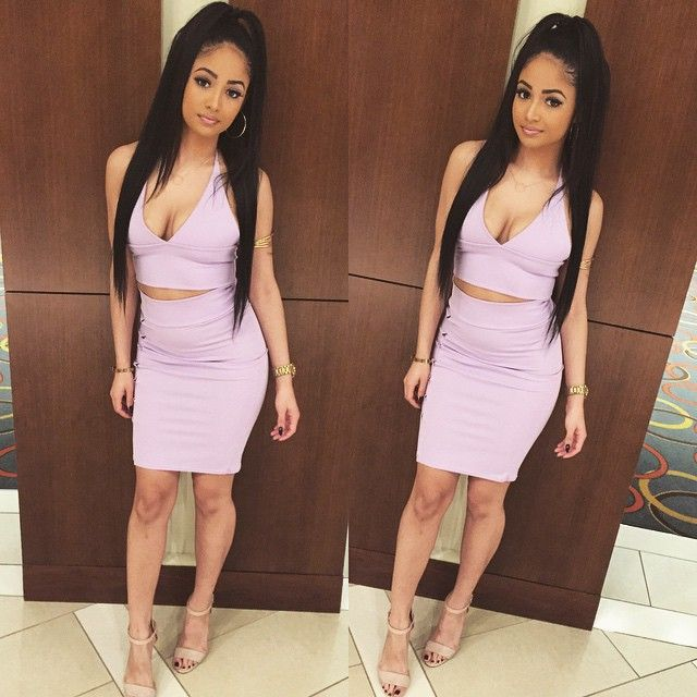 Kayla Phillips Halter Neck Crop Top Bodycon Skirt Two -9400