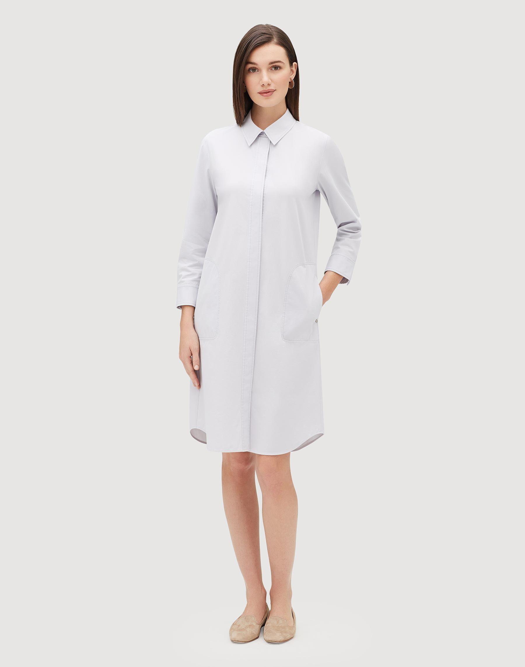 199603900c0dd Italian Bi-Stretch Pima Stretch Peggy Shirtdress | Lafayette 148 New York