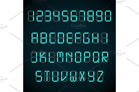 Digital font, alarm clock letters and numbers vector alphabet