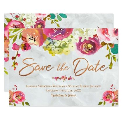 Modern Chic Floral Copper Marble Save the Date Card Weddings - online engagement invitation cards free