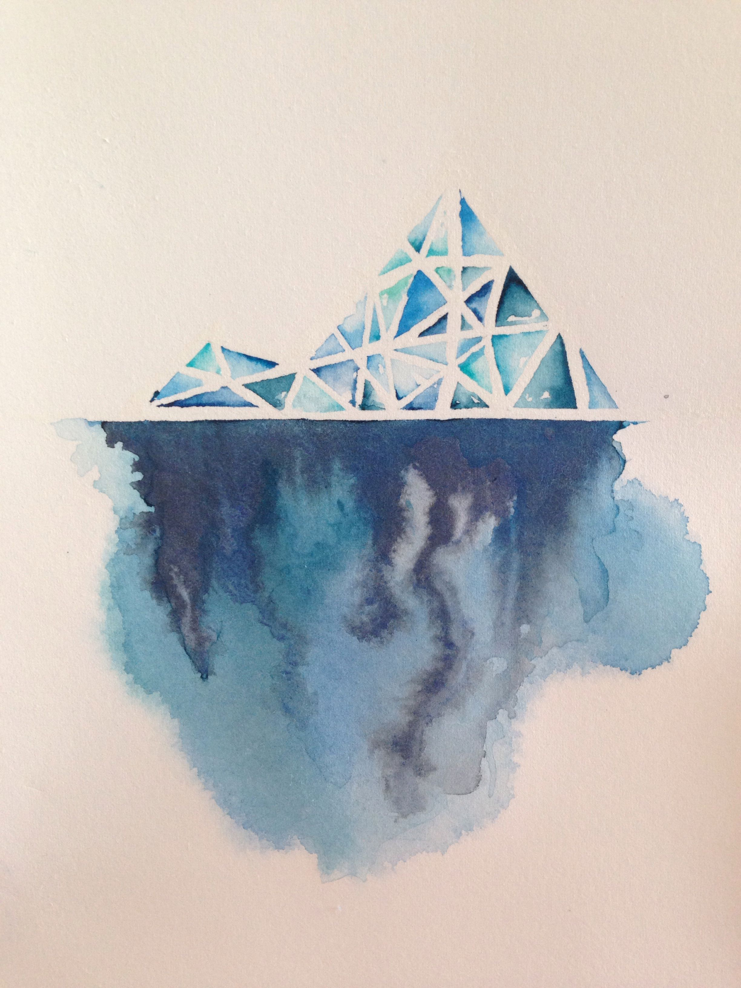 Blue Line Art Painting : Iceberg series the storm beneath original watercolor