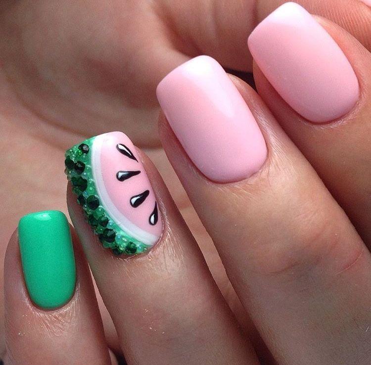 Beautiful Watermelon Nail Design Watermelon Nails Lemon Nails Summer Nails