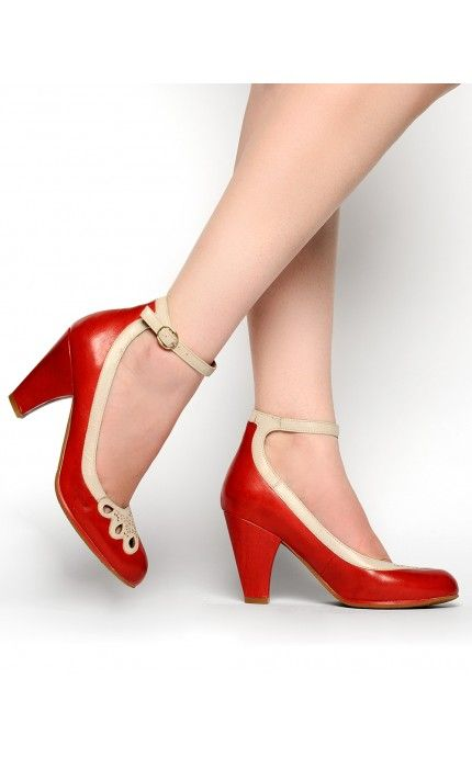 d89aa396369 1940s Jitterbug Pump in Red - these are sooooo pretty and would be perfect  with my kitty dress.