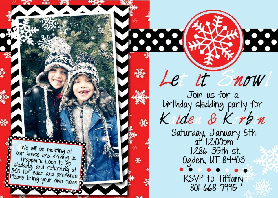 invitation to my boys sled/snow themed birthday party with hot ...