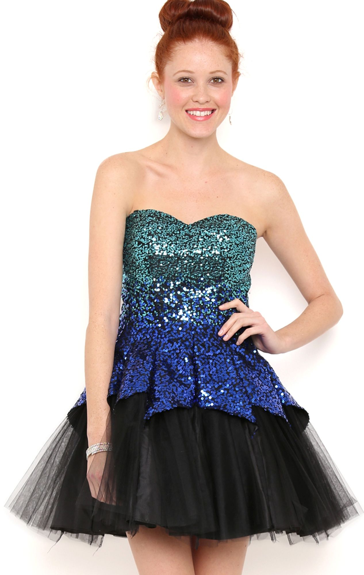 Deb Shops Sequin Strapless Cupcake Prom Dress with Tulle Tulip Skirt ...