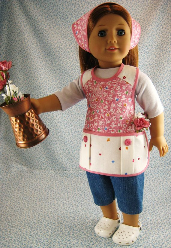 American Girl Gardening Doll Clothes Antique Rose 4 Piece Apron Outfit Set for 18 inch Dolls