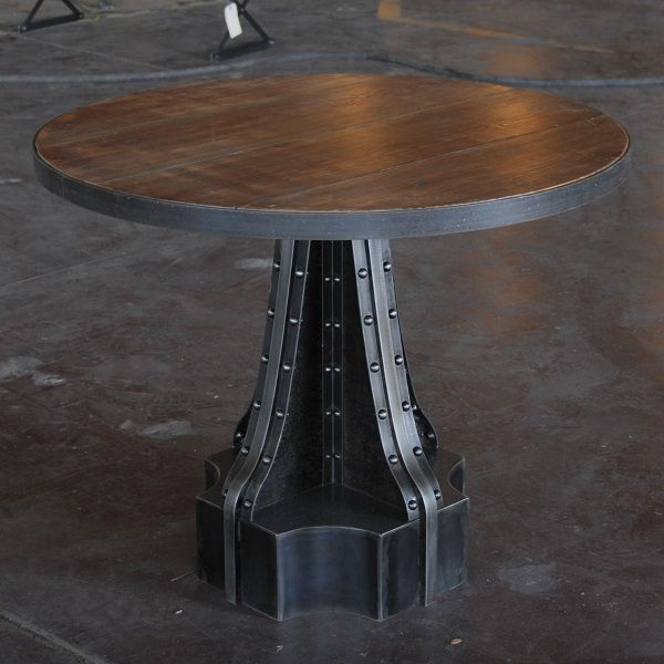French Column Table Stone Concrete Cherry Mahogany Walnut Steel And Worn Oak Top Are Options For The Material