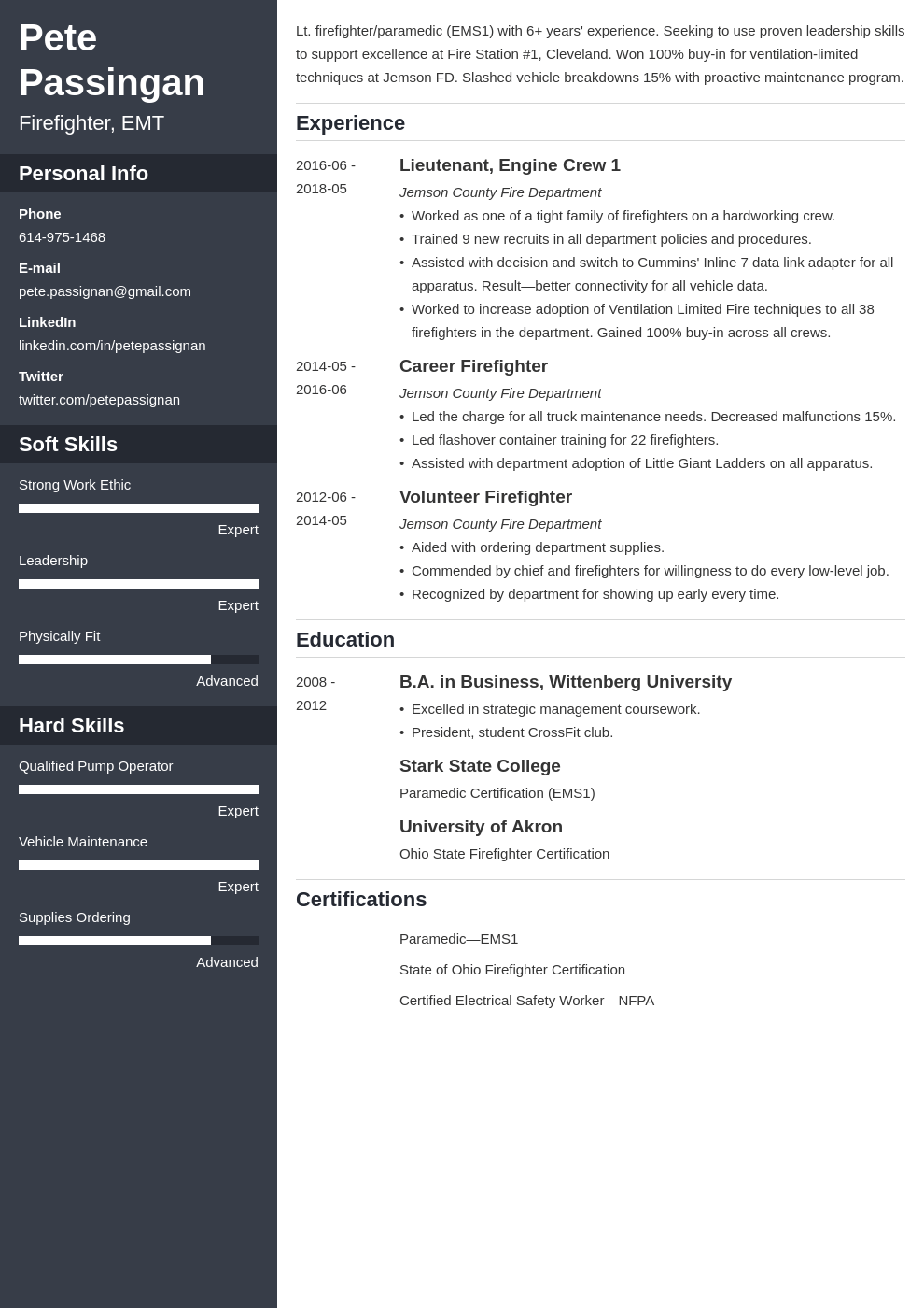 firefighter resume example template cascade in 2020