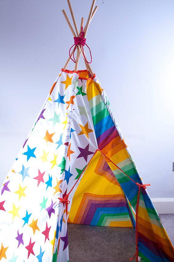 Rainbow Teepee Handmade play tent indoor outdoor den Best Seller & Rainbow Teepee Handmade play tent indoor outdoor den Best Seller ...
