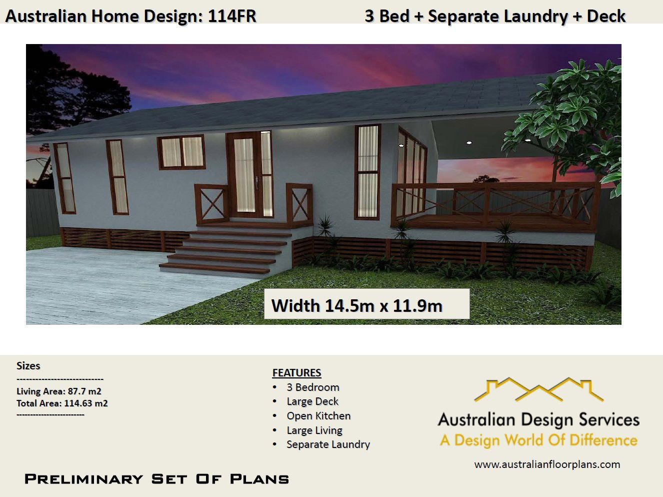 Acreage Style Kit Plan 114 M2 3 Bedroom Timber Floor 3 Etsy Bedroom House Plans House Plans Australia House Plans For Sale