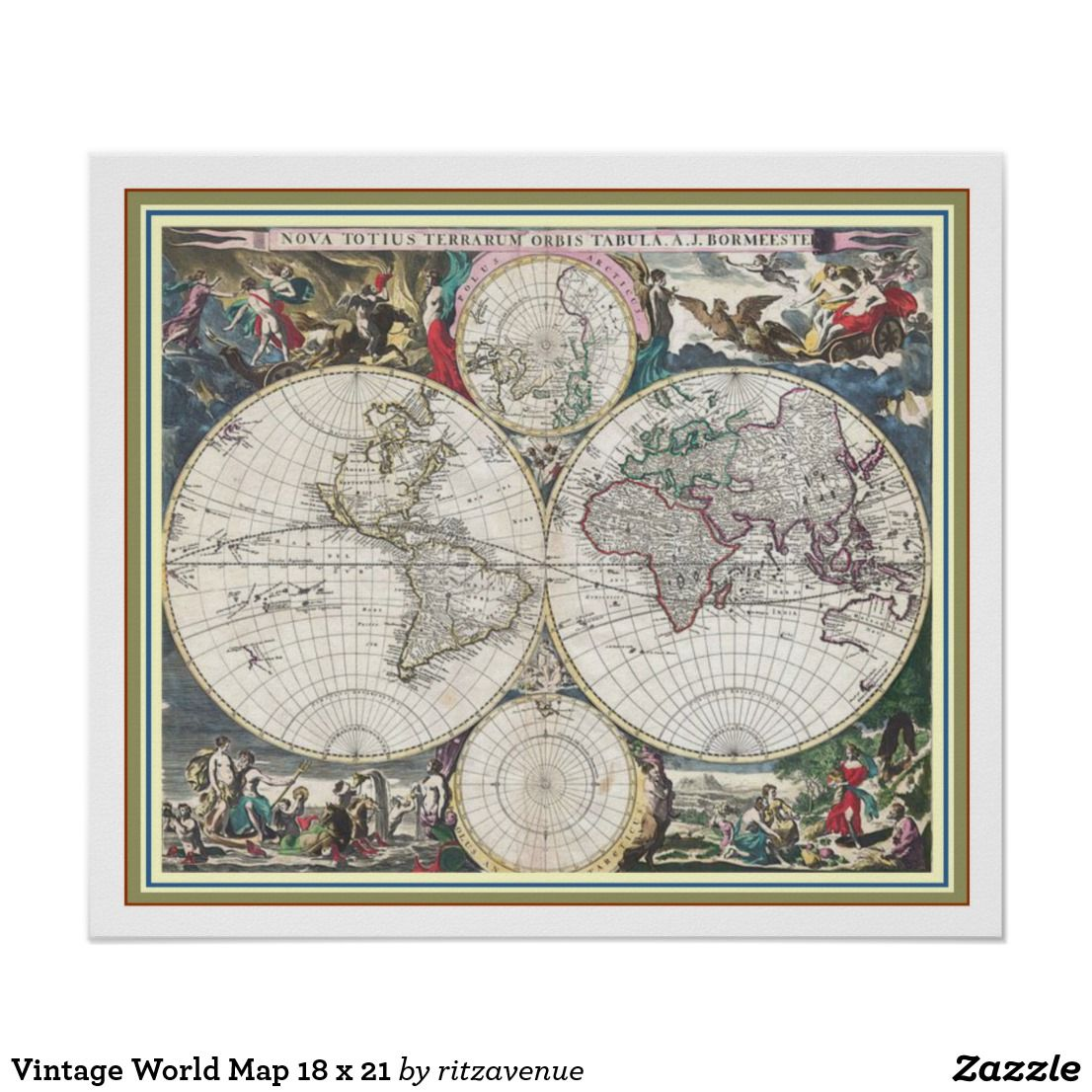 Vintage world map 18 x 21 poster 16 art deconouveau old vintage world map 18 x 21 poster 16 gumiabroncs Images