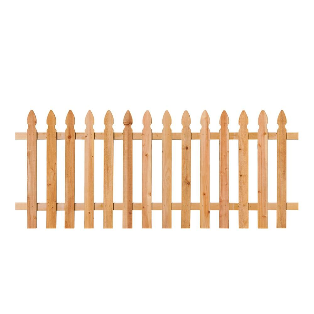 3 1 2 Ft X 8 Ft Cedar Spaced French Gothic Fence Panel 318736 Picket Fence Panels Wood Picket Fence Fence Panels