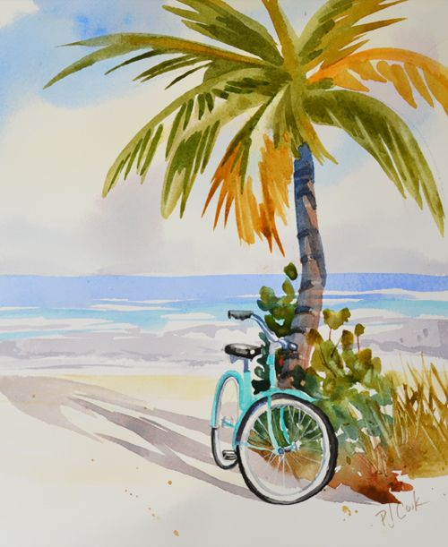 Beach Zen Watercolor Art Beach Watercolor Art