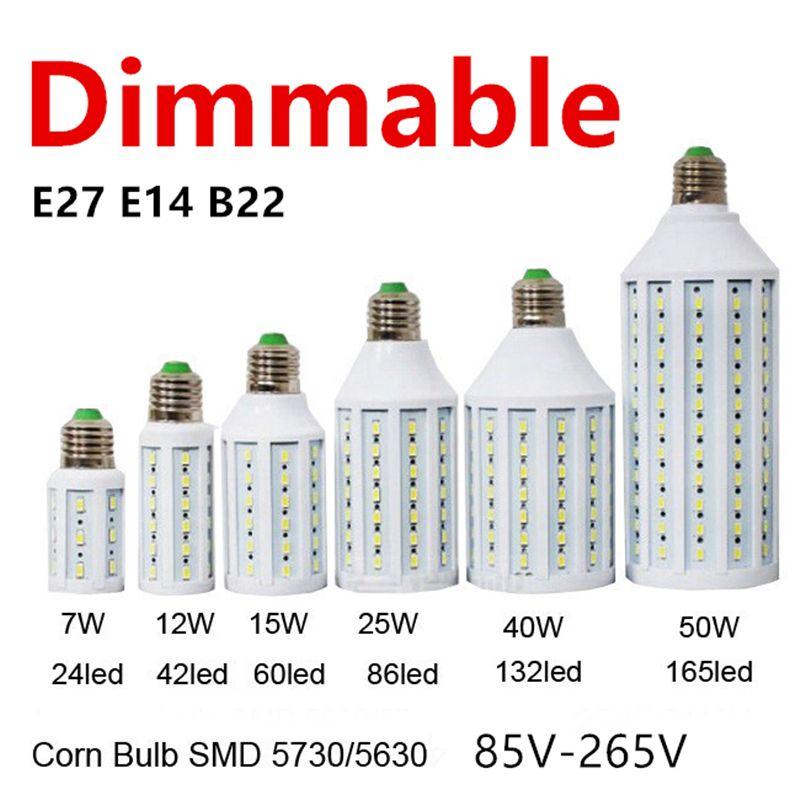 Free Shipping Super Bright Dimmable Led Bulbs 15W LED Lamp E27 E14 B22 B15 5730(5630)SMD 85-265v  LED Light Lanterna Corn Bulbs