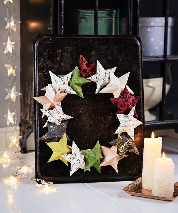 Taittele tähtikranssi paperista. Katso ohje ja askartele kaunis koriste!