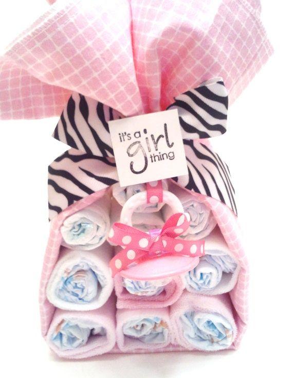 Baby Girl Shower Gift Set- Baby Girl Zebra Theme by BottomBabyCakes