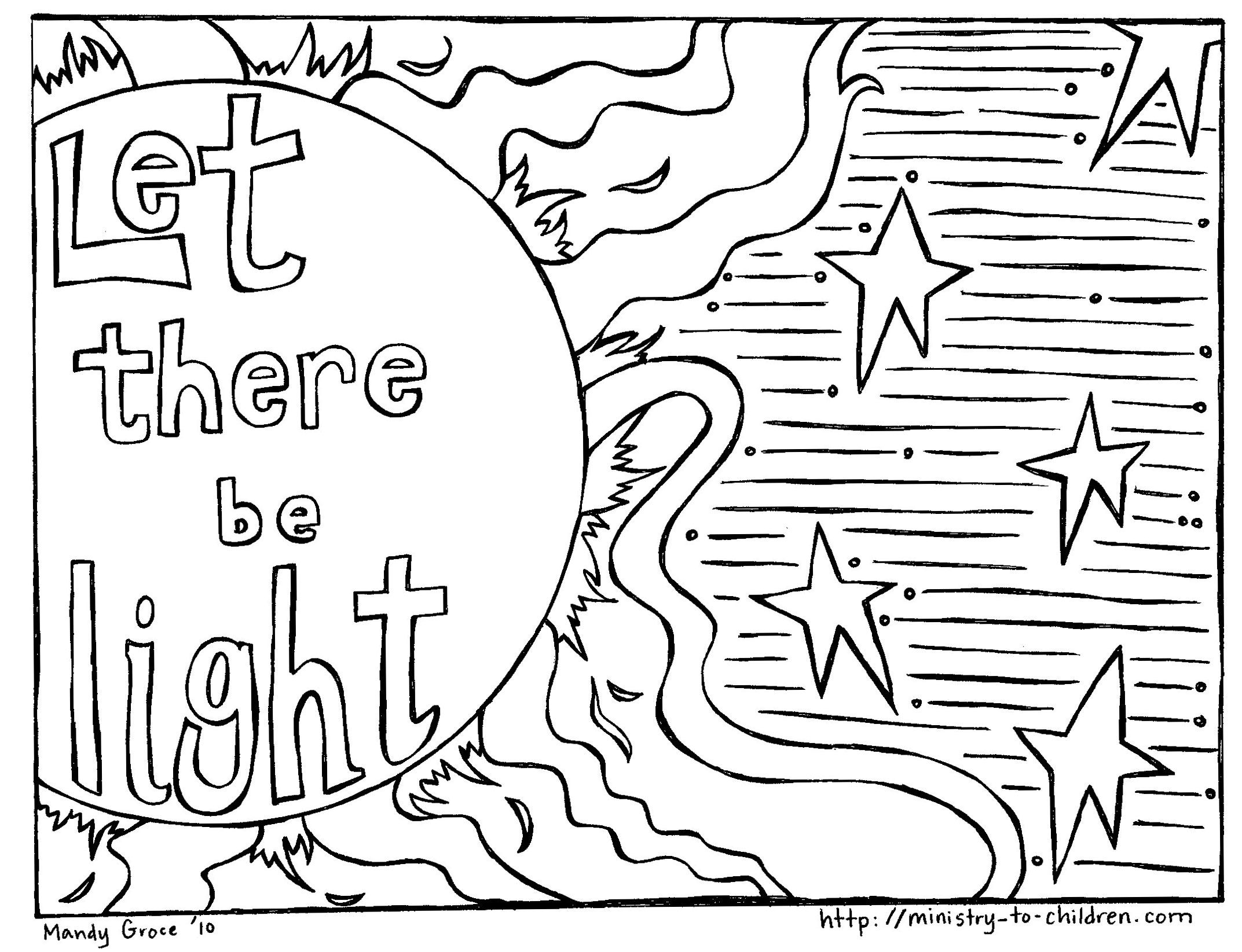 God Created The Sun Moon And Stars Coloring Page Creation