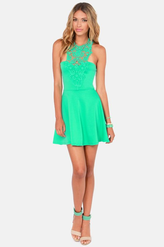 What A Crush Mint Green Lace Halter Dress At Lulus