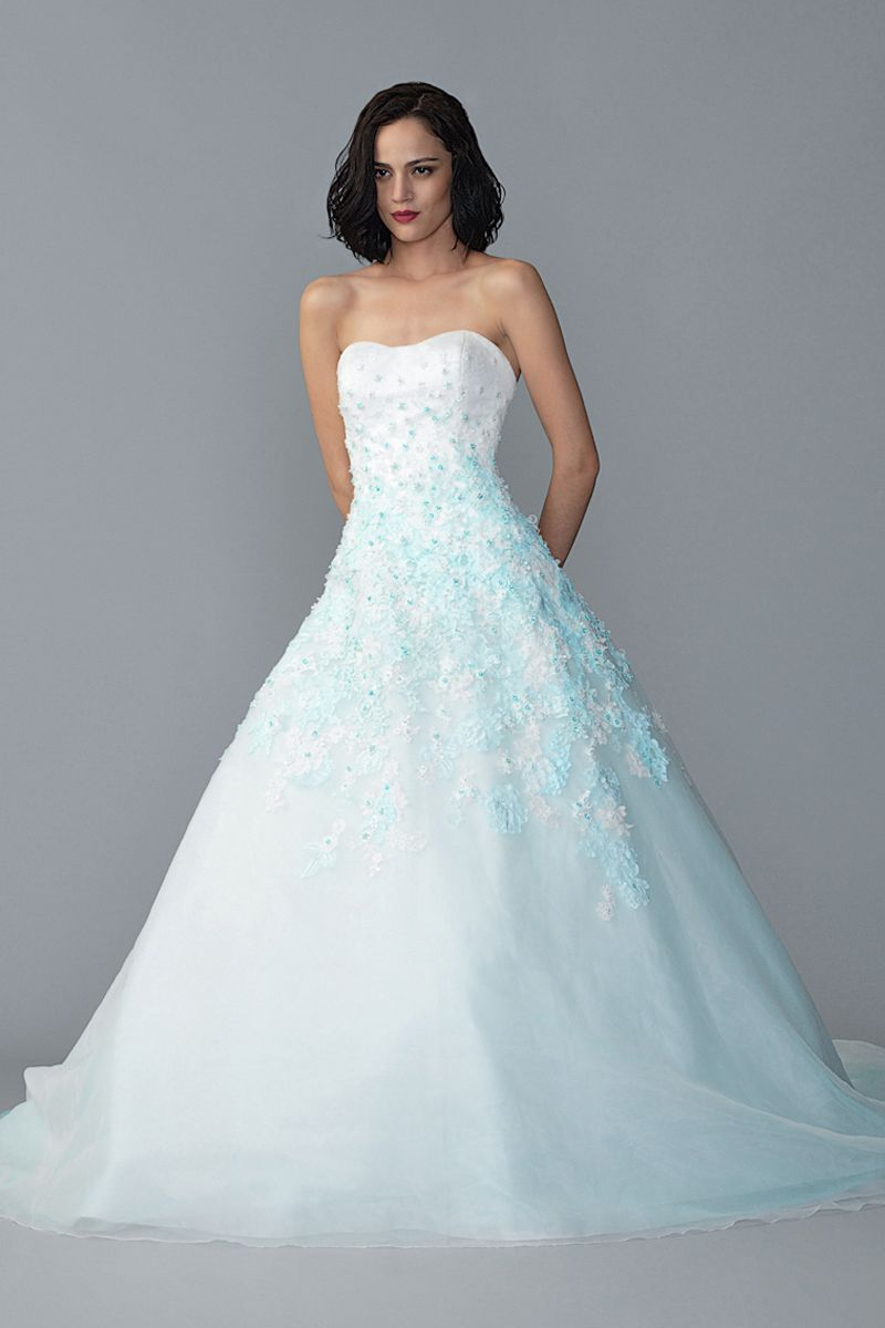 Ombre pastel blue coloured wedding gown by J & C Bridal Collections ...
