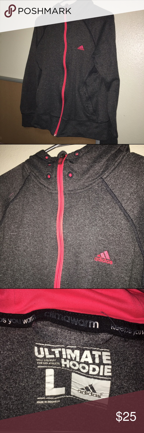Warm Adidas Hoodie 😭💕 super warm, willing to do trades for mac makeup, and vintage clothes. Adidas Sweaters