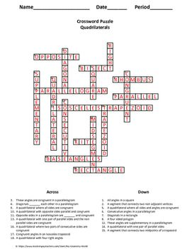 Geometry Crossword Puzzle: Quadrilaterals | Crossword puzzles ...